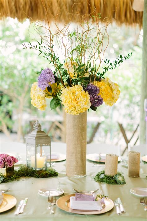 A Romantic Lavender And Yellow Wedding Yellow Purple And Yellow Wedding Centerpieces