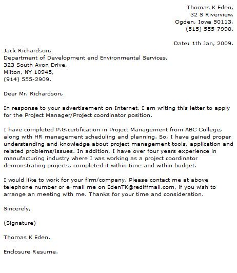 cover letter for project coordinator project manager cover letter program manager cover letter