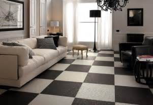 black white living room checkered floor tiles interior design ideas