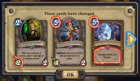 Hearthstone Gift Card - hearthstone patch 5 0 0 nerfs whispers of the old gods cards flavor full dust