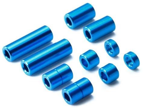 Tamiya Aluminum Spacer Set 12 6 7 6 3 1 5mm 2pcs Each Blue tamiya aluminum spacer set 12 6 7 6 3 1 5mm 2pcs each