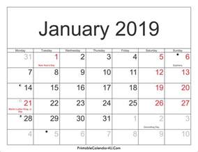 Calendar 2019 January January 2019 Calendar Printable With Holidays Pdf And Jpg