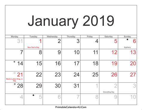 Calendar 2019 Printable With Holidays January 2019 Calendar Printable With Holidays Pdf And Jpg