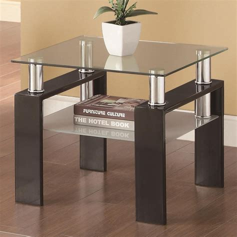 Black Glass Side Table Coaster 702287 Black Glass End Table A Sofa Furniture Outlet Los Angeles Ca