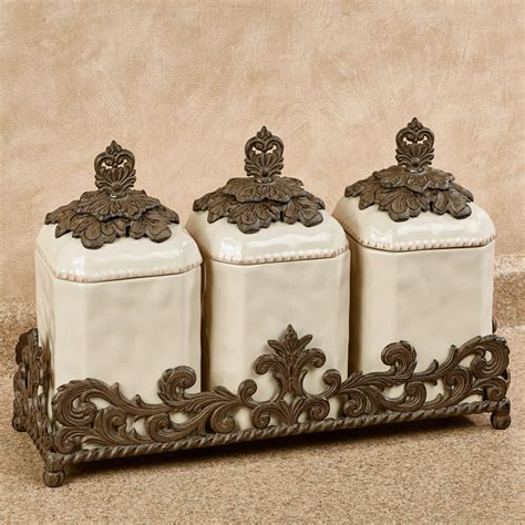 nova brown canisters set of 4 bed bath beyond provincial triple kitchen canister set in holder