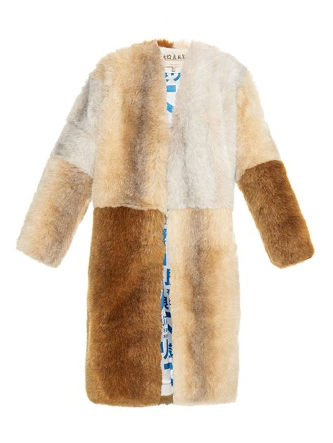 Patchwork Coat - lyst awake three suns faux fur patchwork coat in