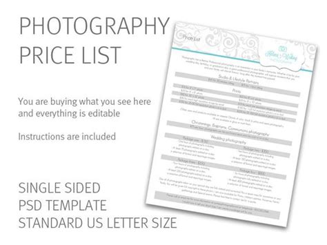 Photography Price List Template Price Guide Photography Photography Price List Template