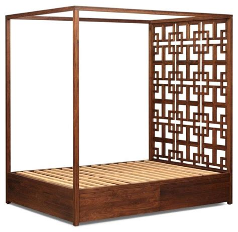 Platform Bed Slats Solid Walnut Four Poster Bed With Storage Contemporary