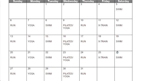 weekly workout plan weekly exercise plan new calendar template site