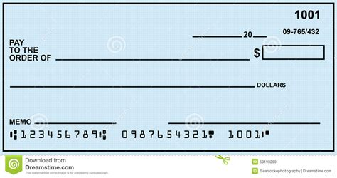 blank personal check stock photo image 50193269