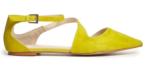 flat shoes nachi yellow lyst aldo flat pointed yellow asymmetric flat shoes in