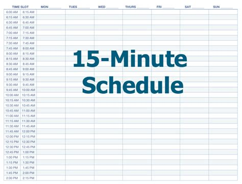 daily calendar template 15 minute increments appointment schedule template 15 minute increments