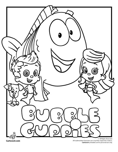 printable bubble guppies az coloring pages
