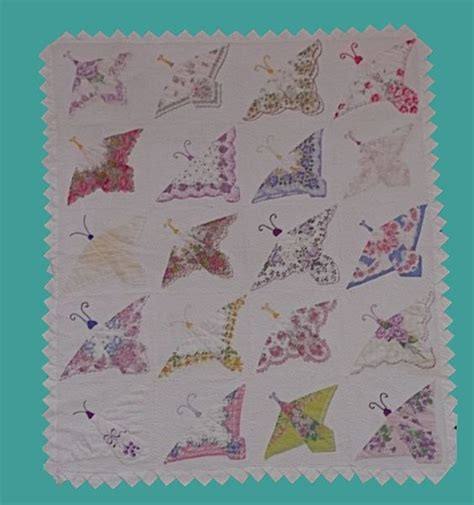 Handkerchief Butterfly Quilt Pattern by Vintage Hankies Butterfly Quilt Friend Has One Of