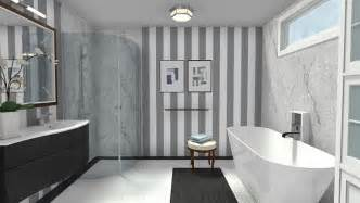 Elegant modern black amp white bathroom with marble accents