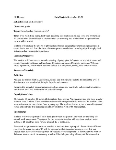 Lesson Plan Social Studies 5 E Lesson Plan Template Social Studies