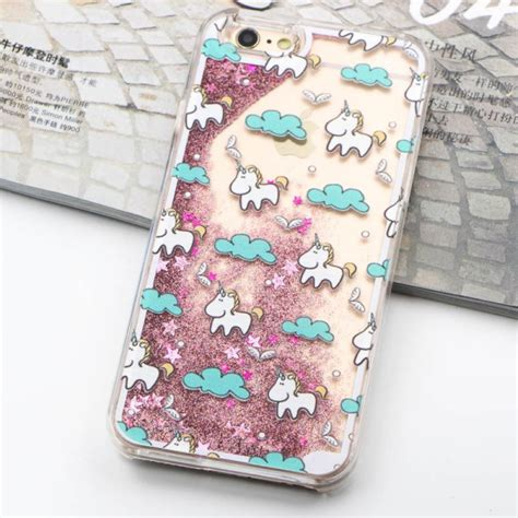Fashion Water Gliter For Apple Iphone 6 Plus unique liquid unicorn phone for iphone 6s bling glitter water cover for