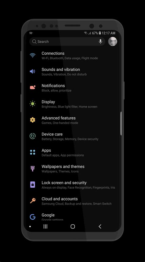 Download Samsung Night Theme from Experience 10 UI for S9
