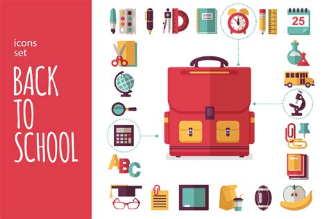 school supplies icon set back icons set quot back to school quot icons on creative market