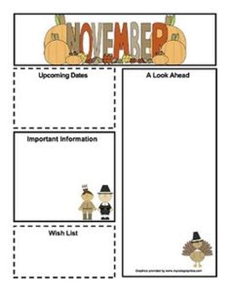 free november newsletter templates preschool lesson plans and newsletter templates on