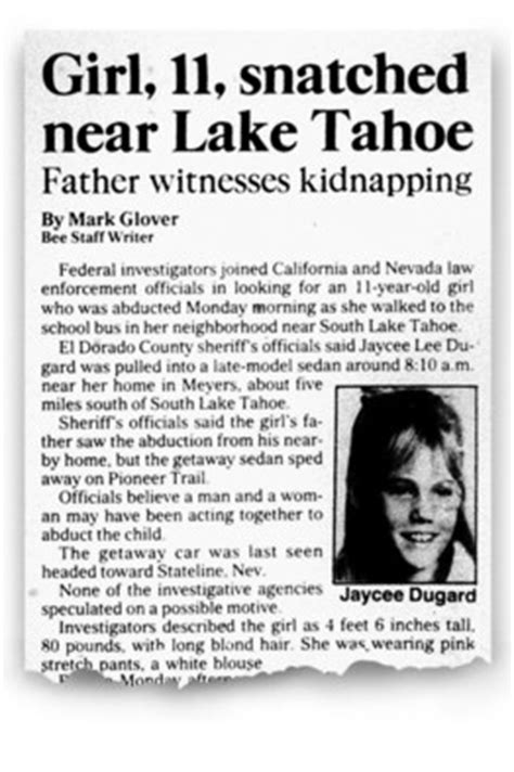 Stolen Children Book Report by A Sacramento Bee Story From June 1991 About Jaycee Dugard S Disappearance On Wednesday She