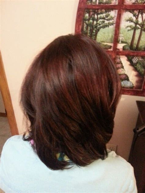 tinted short hair cut fall hair dark brown with a red tint level 5 brown and