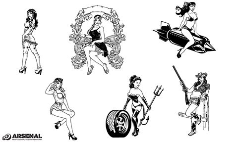 rockabilly pin up girl tattoo designs pin up vector pack by go media s arsenal