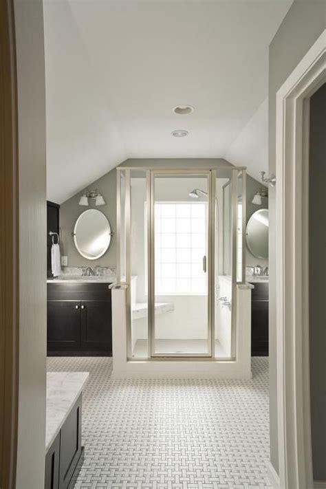 suzie renewal design build master bathroom vaulted ceiling warm gray walls paint bathroom attic bathroom attic master bedroom