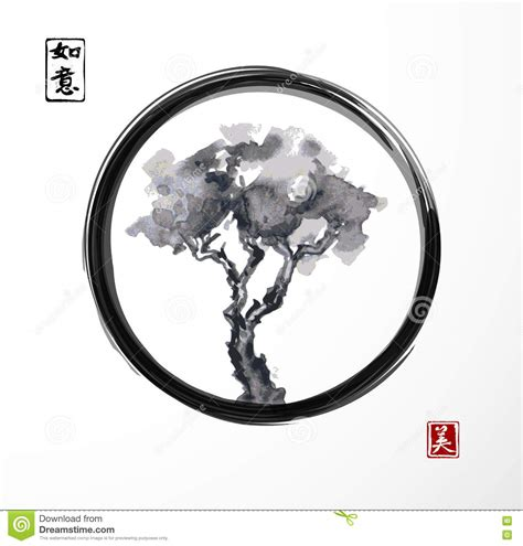 tree in black enso zen circle stock vector image 74171146