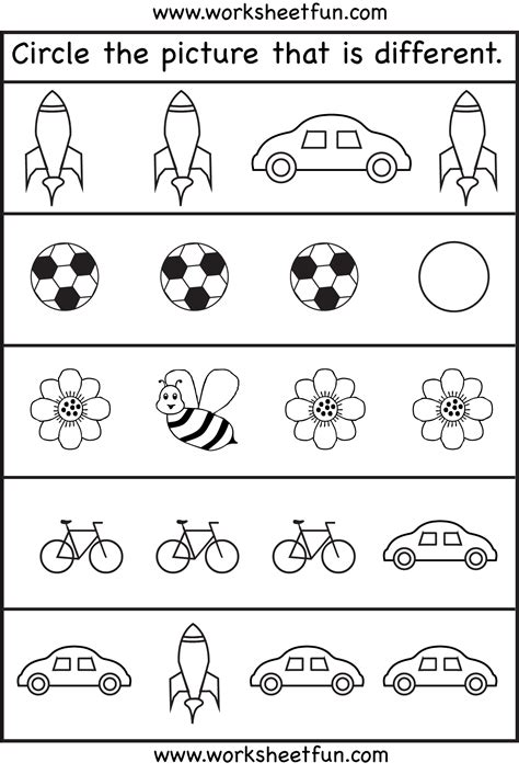 preschool printable worksheets circle the picture that is different 4 worksheets free printable worksheets worksheetfun