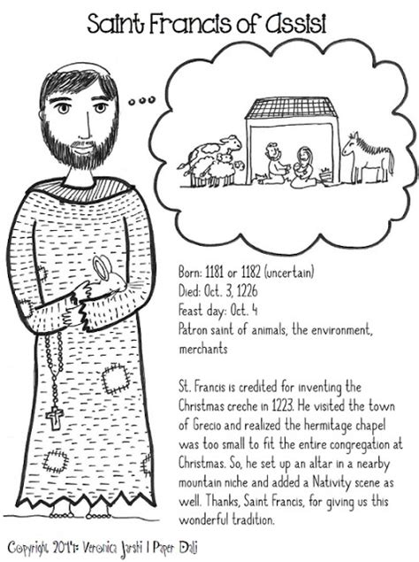 paper dali saint francis of assisi coloring page free