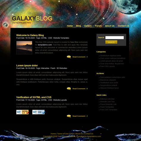 blogger themes galaxy free download free website templates one column programs
