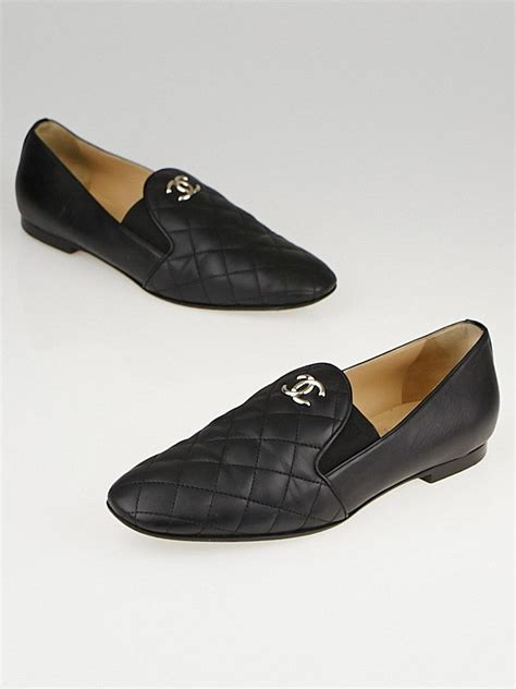 chanel black loafers chanel black quilted calfskin leather cc loafers size 9 39