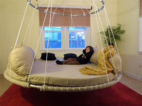 suspended bed advanced design floating round hanging bed with upper