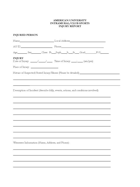 injury report form 3 free templates in pdf word excel