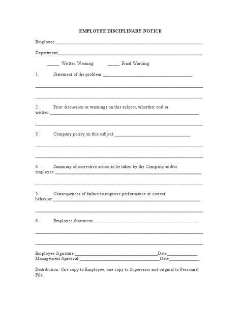 disciplinary write up form template 10 best images of disciplinary notice template employee