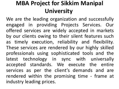 Mba Courses Offered By Sikkim Manipal by Mba Project For Sikkim Manipal