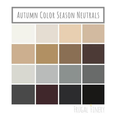 neutral colors for the autumn color season wardrobe palette no white or black unless