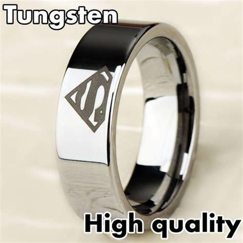 8mm bridal mens superman silver tungsten engagement ring