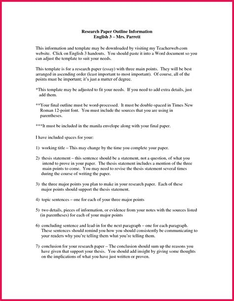 How To Make An Outline For Research Paper - sle research paper outline sop exles