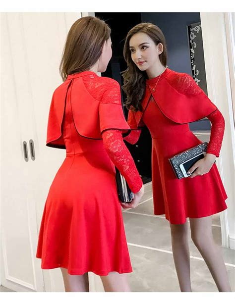 dress wanita kombinasi brukat merah 2018 jual model