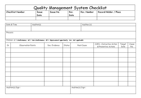 Quality Management System Checklist Free Quality Management System Template