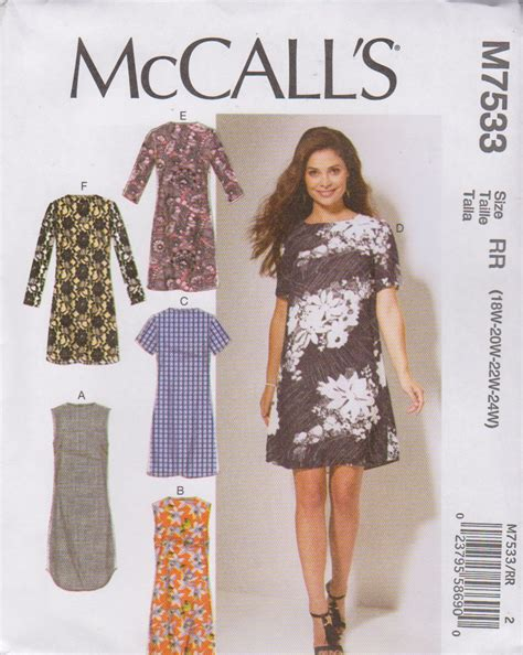 clothes pattern store mccall s sewing pattern 7533 m7533 womens plus sizes 18w