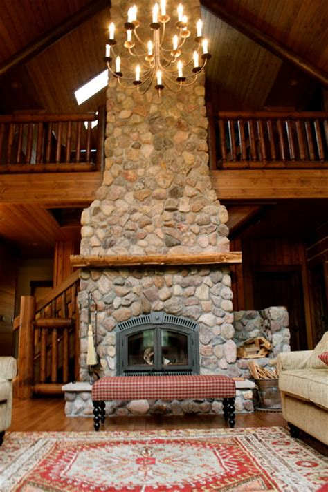 home design story rustic stove two story high wood burning fireplace
