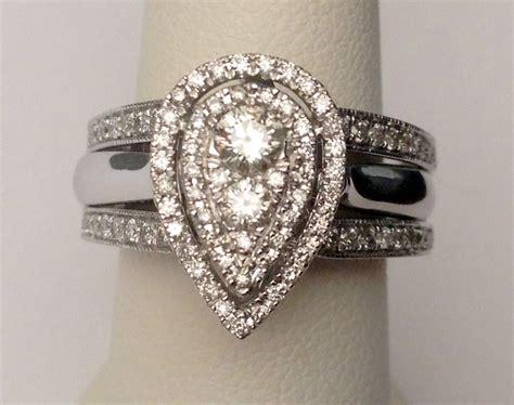 white gold pear tear drop shape diamonds engagement