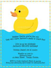 free printable rubber ducky 1st birthday invitations