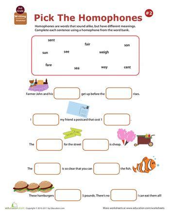 homophones worksheet for 2nd grade homophone worksheets 2nd grade education