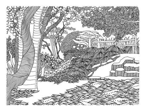 japanese garden coloring page traditional drawings by vlacruz on deviantart