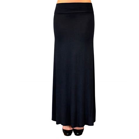 solid maxi skirt waist foldover length light