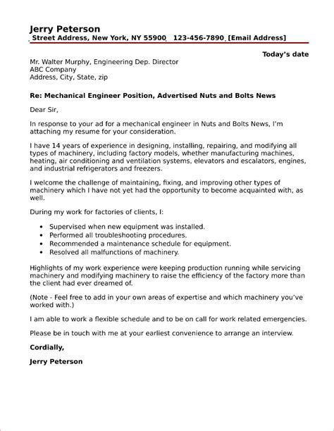 mechanical engineering cover letter mechanical engineer cover letter sle